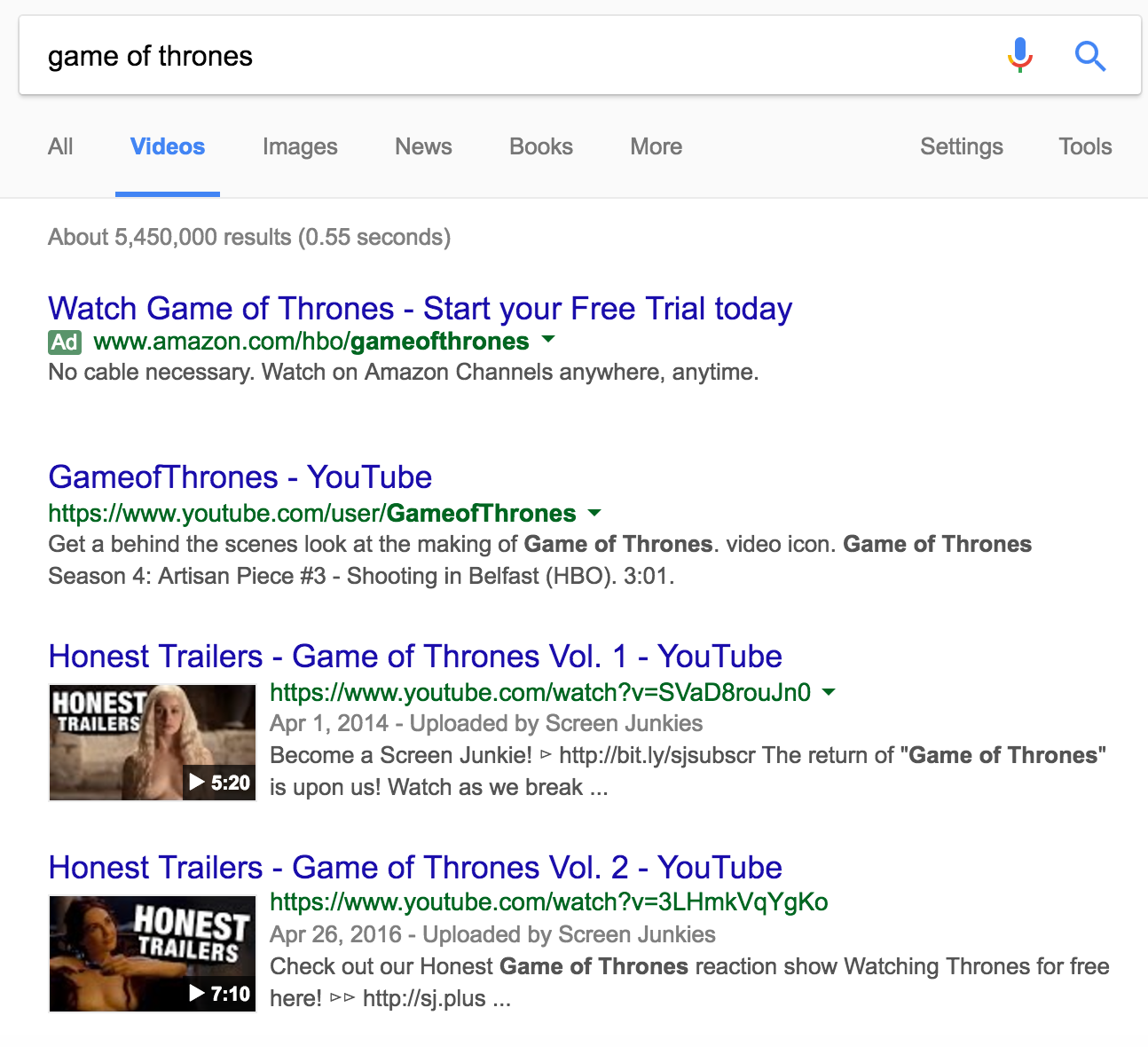 Google Game of Thrones